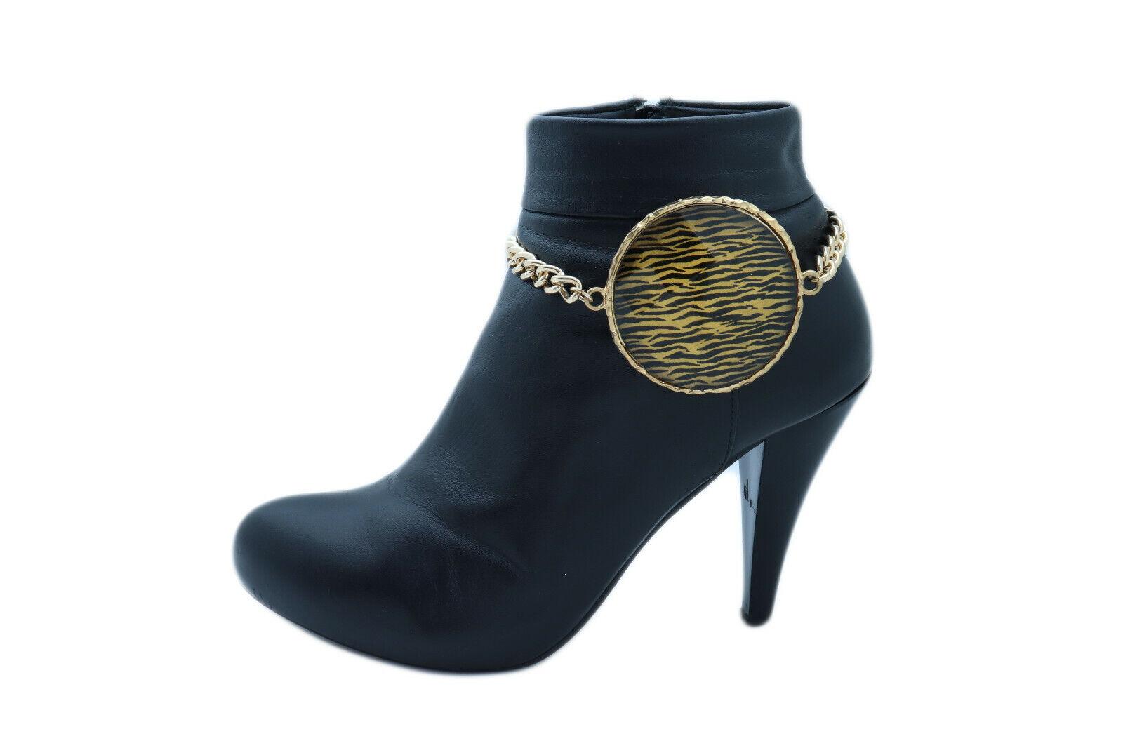 Sexy Women Gold Metal Chain Boot Bracelet Shoe Zebra Print Charm Hip Hop Fashion