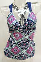 So Navy Paisley Macrame Strappy Tankini Top Swimwear Juniors' Ladies Xs,s,m,l