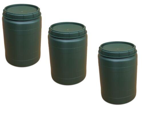 3 x 60 Liter grün Weithalstonne Weithalsfass Fass mit Drehdeckel Tonne Behälter