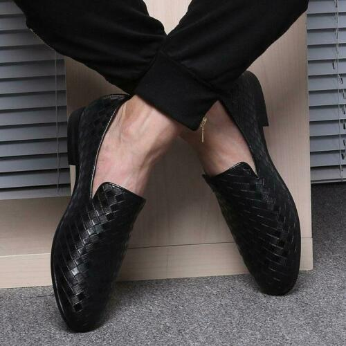 Mens Woven Leather Loafers Casual Business Dress Formal Wedding Oxfords Shoes SZ