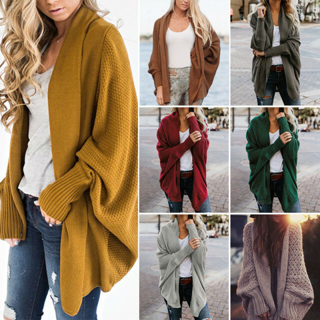 Women Knitted Cardigan Batwing Sleeve Oversized Coat Loose Sweater Outwear Tops
