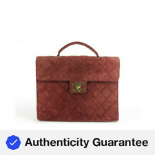 Chanel Jumbo Burgundy Quilted Suede Attache Business Kelly Briefcase 1CK1219
