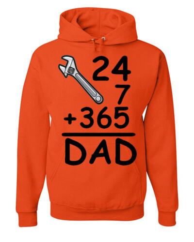 DAD 24//7 365 Days Funny Sweatshirt Birthday B-day Daddy Father/'s Day Gift Hoodie