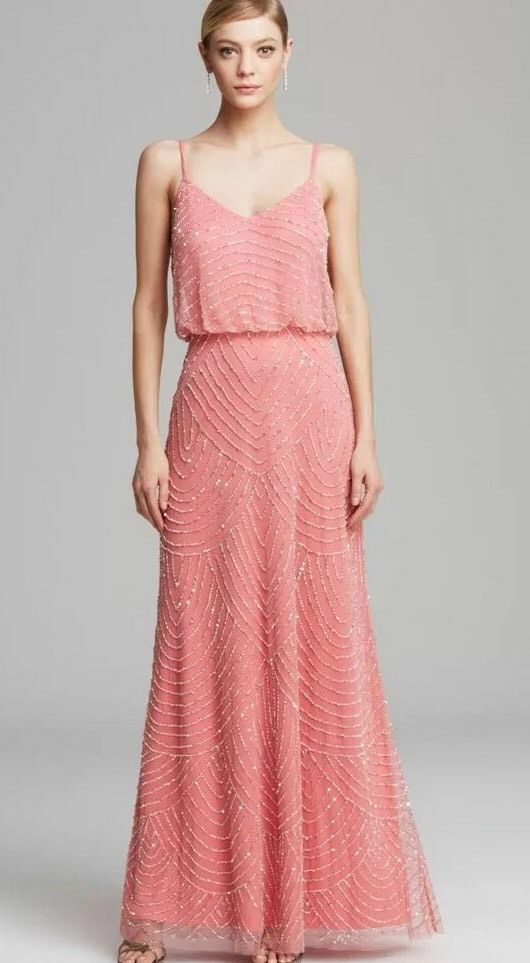 NWT  Adrianna Papell Embellished Blouson Gown Beaded SOR Pink [SZ 10 ]  N145