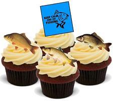 12 Novità Vaniglia Stand Up Keep Calm Pesca della Carpa MIX wafer commestibile cake topper