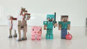 Minecraft-Set-of-4-Horse-Pig-Diamond-Steve-amp-Steve-Figures-New-without-Box