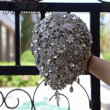 Gray Luxurious Wedding Flower Bride Brooch Rhinestone Crystal Bouquet Artificial