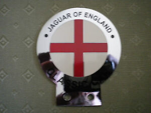 JAGUAR OF ENGLAND CHROME & ENAMEL CAR BADGE