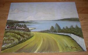 VINTAGE OCEAN NAUTICAL VILLAGE NATURE LANDSCAPE SEA COAST WINDING PATH PAINTING