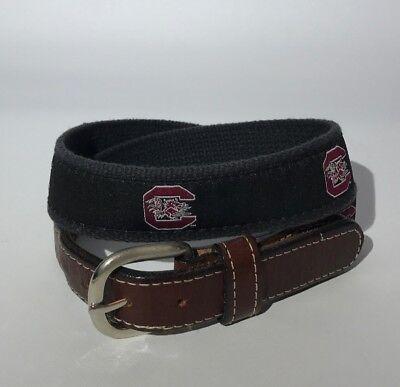 USC U of South Carolina GAMECOCK Mens Leather Canvas Embroidered Ribbon Belt