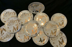 Vintage-AMC-NY-Japan-Gold-Merry-Christmas-8-Diameter-Salad-Plates-Set-of-12