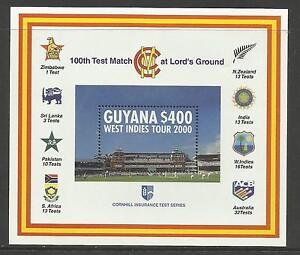 GUYANA-2000-LORD-039-S-CRICKET-100th-CENTENARY-TEST-MATCH-Souv-Sheet-MNH