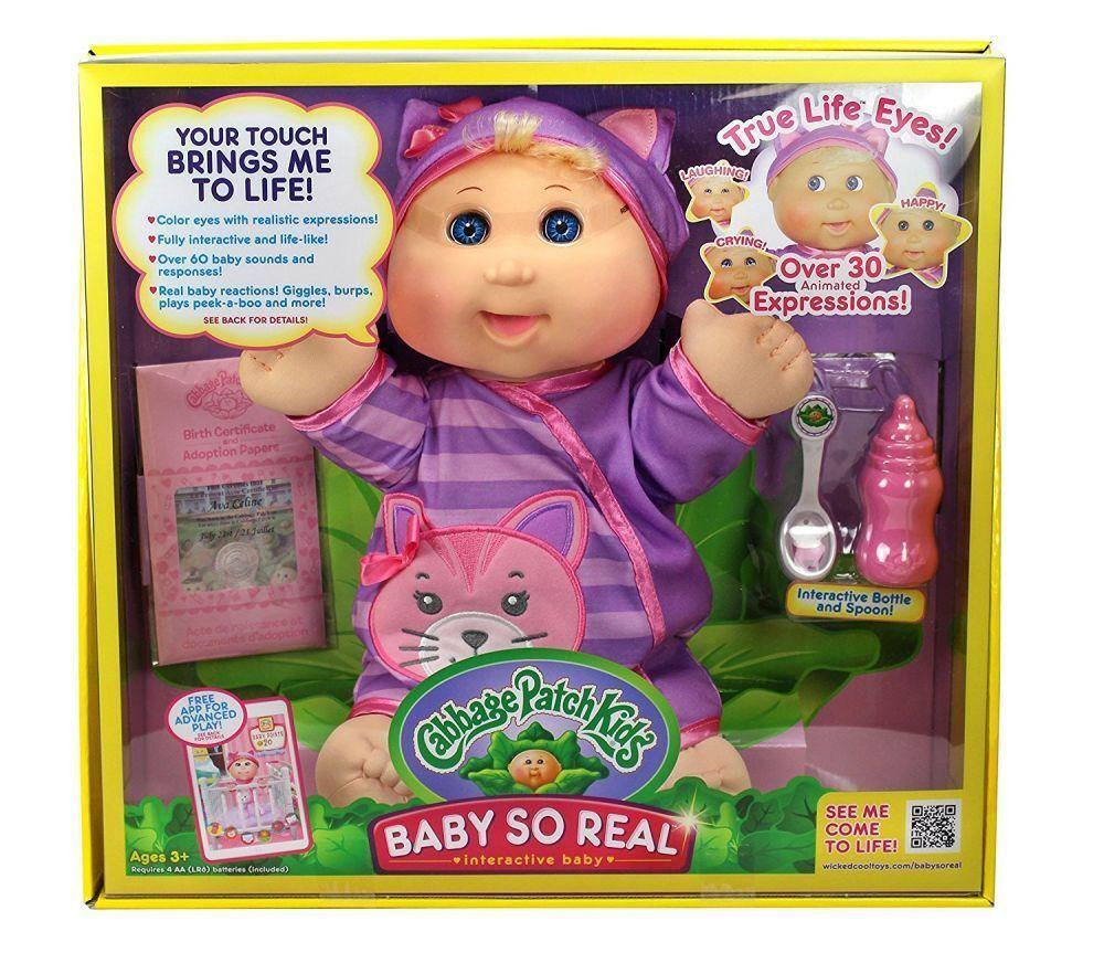 Cabbage Patch Kids 14  Interactivo Bebé tan Real Rubia avanzada bebé nunca fuera de imprenta