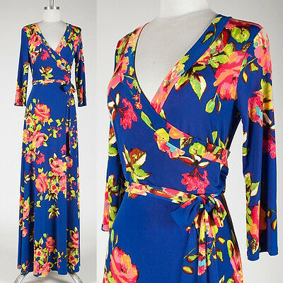 ROYAL BLUE Garden ROSE FLORAL Faux Wrap MAXI DRESS Jersey LONG Tea Party S M L