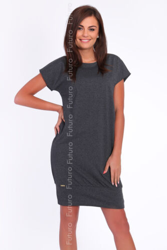 Casual Shift Dress With Pockets Crew Neck Short Sleeve Tunic Sizes 8-14 FA384