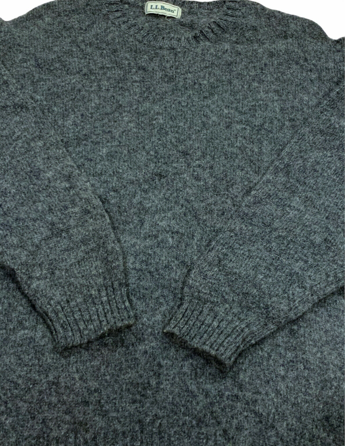 Vintage 80s LL Bean Gray Wool Knit Pullover Crewn… - image 4