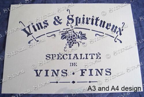 SUPERIOR 250 MYLAR French Wine STENCIL 4 sizes WS Vintage Chic Furniture Signs