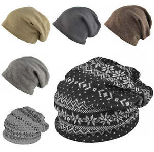 Quality-Beanie-Hat-Mens-Ladies-Slouch-Winter-Woolly-Ski-Knitted-Fashion
