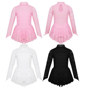 Kids-Girls-Lace-Ballet-Leotard-Figure-Ice-Skating-Roller-Skating-Dance-Dress
