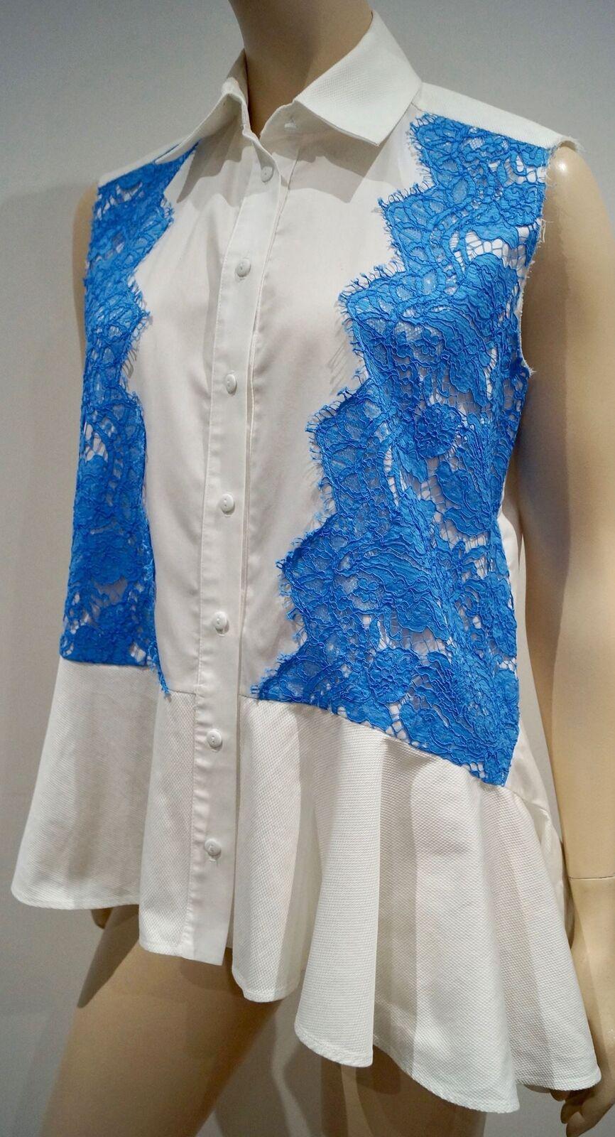 PREEN BY THORNTON BREGAZZI Weiß Cotton Poplin Blau Lace Sleeveless Shirt Top M