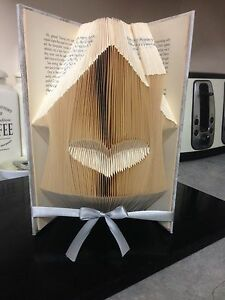 Folded Book Art. House With Heart .new Home,House Move,Decor, House Warming Gift