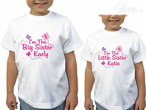 84bcd06d Image is loading GIRLS-PERSONALISED-BIG-SISTER-LITTLE-SISTER -BUTTERFLY-DESIGN-