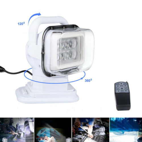 White Cree LED Marine Car Remote Control Spotlight Offroad Search Light 50W Best