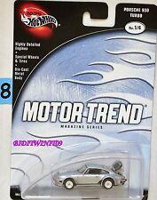 100% HOT WHEELS MOTOR TREND MAGAZINE SERIES PORSCHE 930 TURBO #1/4 SILVER W+