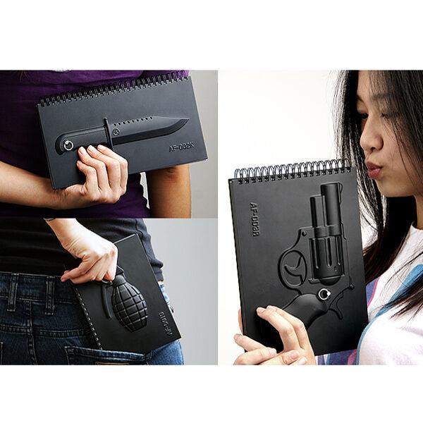 Kay 3D Weapon Hardcover Notebook Knife Grenade Gun Keyholder Diary Memo Note pad