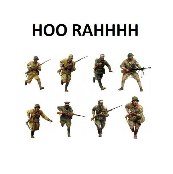 1 35 Resin Figures Model Kit WW2 Red Army Battle Cry ''Hoo Rah'' (8 Figures)