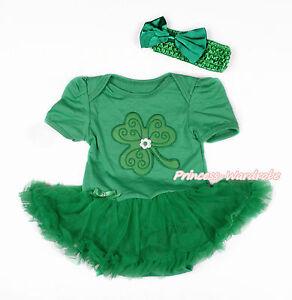 St Patrick/'s Day Clover Kelly Green Top Green Baby Girl Petal Pettiskirt NB-8Y