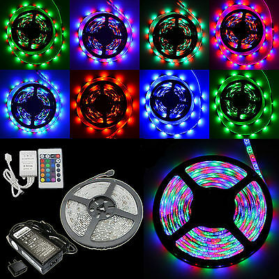 5M 300LED Strip Light 3528 SMD RGB Waterproof 12V + IR Remote Controller + Power