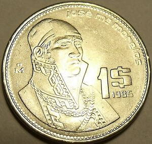 Brilliant Uncirculated Mexico 1985 Peso~Stainless Steel~Jose Morelos ~Free Ship