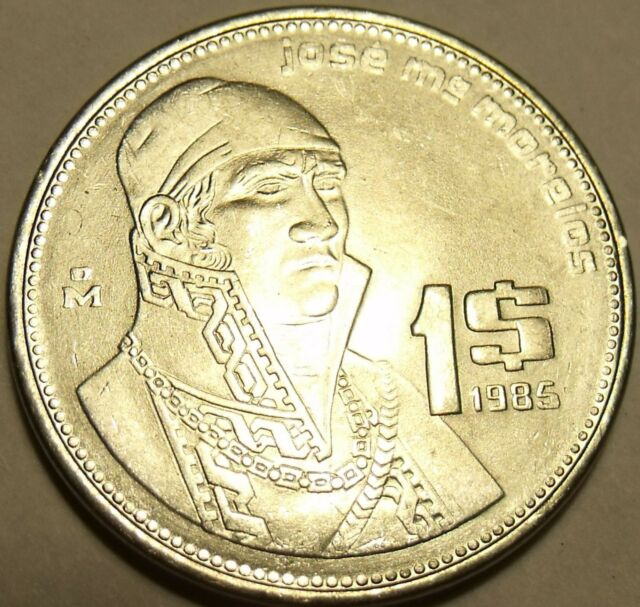 Brilliant Uncirculated Mexico 1985 Peso Stainless Steel Jose Morelos Free Ship