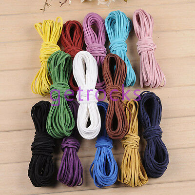 10/100yard 2x1mm Leather Cord Suede Lace Thread For Bracelet Necklace Making DIY