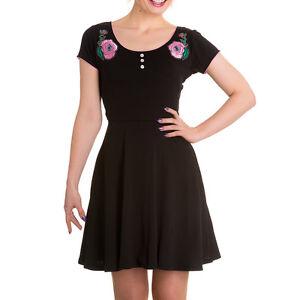 New-Black-Pink-Rose-Spooky-Eyeball-Dress-XS-S-M-L-XL-Hellbunny-HORROR-PUnk