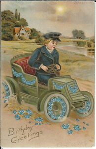 AI-040-Birthday-Greetings-Boy-in-Car-1907-1915-Golden-Age-Postcard-embossed