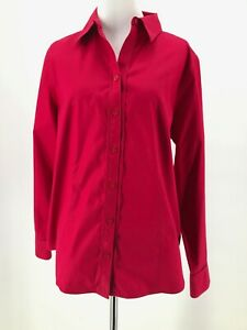 Chico-039-s-Women-039-s-100-Cotton-Red-Button-Down-Long-Sleeve-Collared-Shirt-Size-1