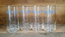 4 Vintage Corelle Cornflower Blue Tumblers Drinking Glasses Coolers Corning