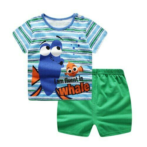 Navy Shorts Baby Boys Clothes Sets Spring Summer Fashion Leisure Lion T-shirt