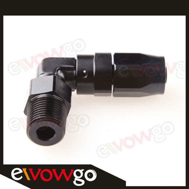 """-6 AN6 AN -6 to 3/8"""" NPT 90 Degree Swivel Hose End Fitting Adaptor Black"""