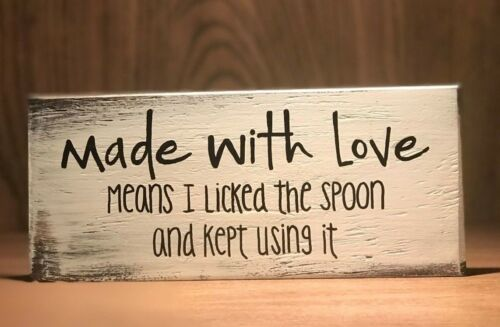 Rustic Wood Kitchen Sign MADE WITH LOVE Farmhouse Home decor baking funny