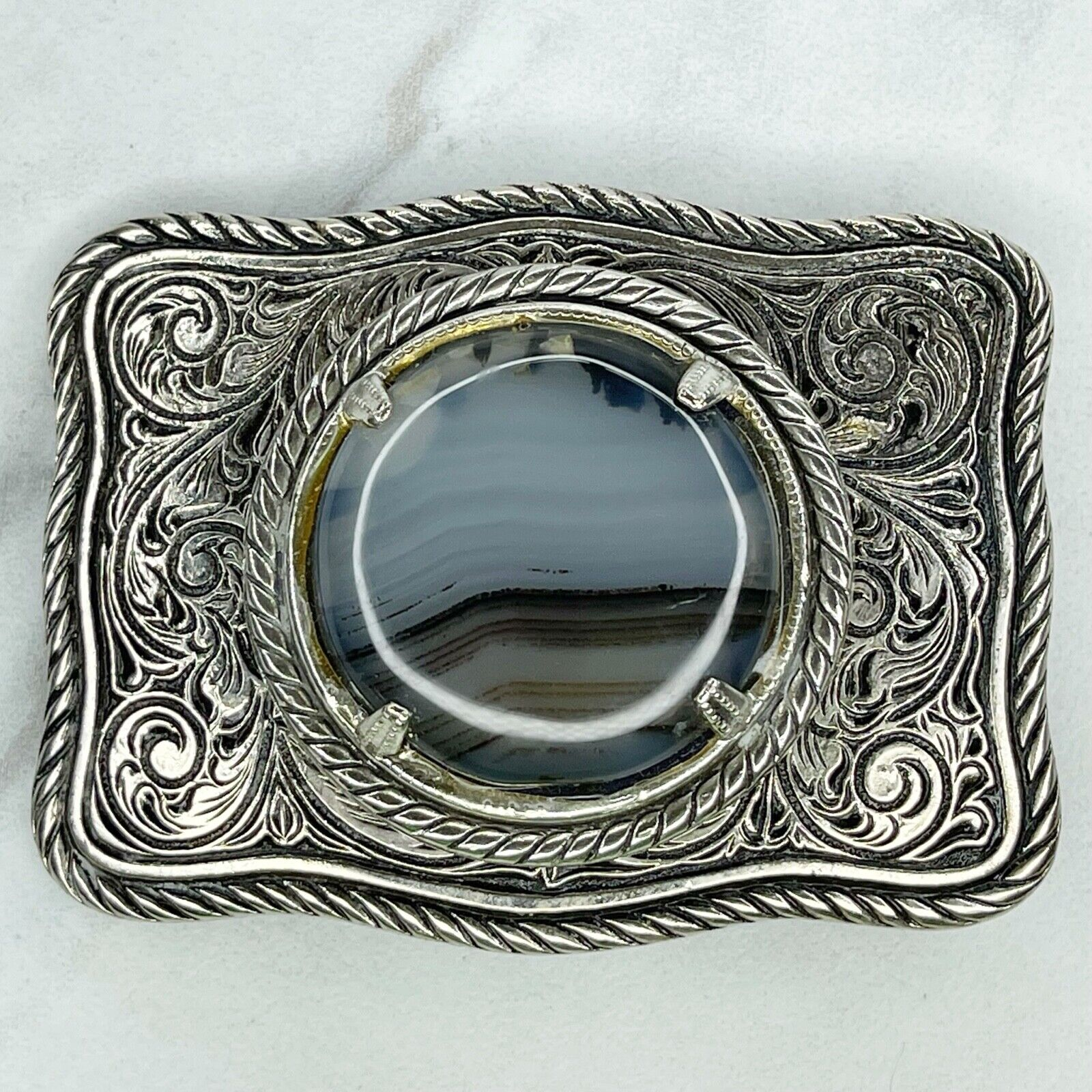 Silver Tone Marbled Cabochon Scroll Engraved Belt Buckle Fits belt up to 1.75