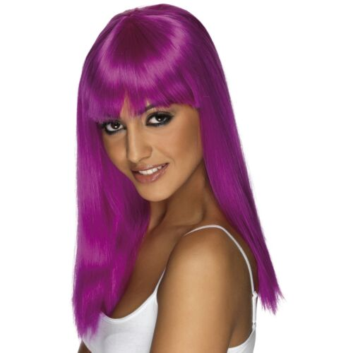 Neon Purple Long Straight Glam Wig Fringe Womens Ladies Fancy Dress Accessory