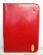 85x1175 Vtg An A Mount Red Leather Zip Planner Organizer Paper Holder Folder