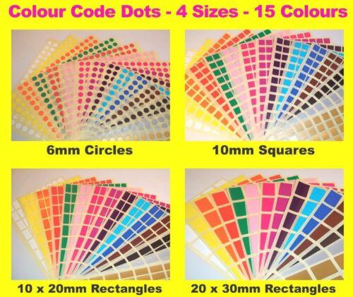 6mm CERCHI 10mm quadrati-codice colore DOTS Bianco prezzo ADESIVI appiccicoso etichette