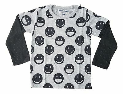 Ex Store Baby Boys Long Sleeve Smiley Emoji  Grey Winter Top T-Shirt  9 12 18 24