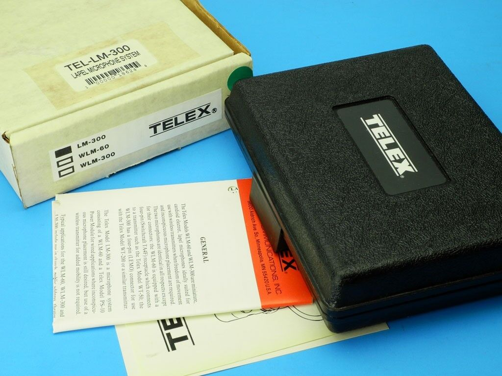 NOS  TELEX LM-300 Lapel Microphone System  Mini Cardioid Electret w CLIPS