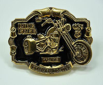 * Buckle Trike Motorrad Triker Belt Gürtel Gürtelschnalle *571 Gold-schwarz Stabile Konstruktion