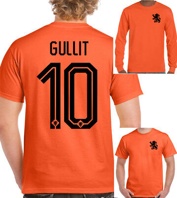 new product d72c3 c063a Ruud Gullit 10 Mens Retro Holland Football Player T-Shirt Dutch Milan  Chelsea | eBay